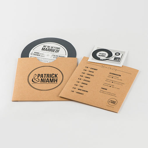 Personalised Record Style Wedding Invitation